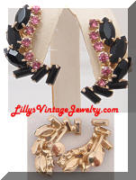 Vintage Black Pink Rhinestones Climber Earrings