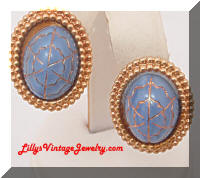 Vintage Blue Cabs Golden Frame Earrings