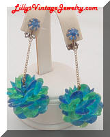 Vintage Funky Blue Green Plastic Balls Dangle Earrings