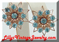 Gold tone Flowers Blue Rhinestones Vintage Earrings