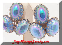 Vintage Carnival Glass Cabochons Earrings