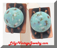 Copper faux Turquoise Modernist Vintage Earrings
