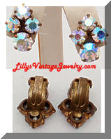 Vintage Aurora Borealis Rhinestones Earrings