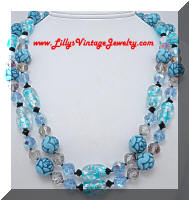 Vintage Electric Blue Venetian Glass & Crystal Beads Necklace