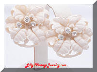 Vintage Ivory Celluloid Wedding Cake Floral Earrings