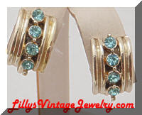 Vintage Retro Modern Golden Aqua Rhinestones Earrings