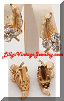 Vintage Golden Leaves Rhinestones Earrings