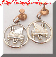 Vintage Golden Grand Piano Dangle Earrings