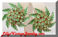 Vintage Green Enamel Peridot Rhinestones Earrings