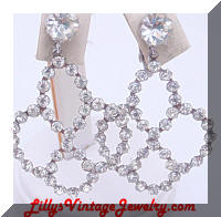 Glamorous Dangling Rhinestones Vintage Earrings