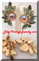 Large Bi-color Iridescent Cabochons Vintage Earrings