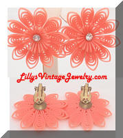 Vintage Orange Plastic Flowers Rhinestone Earrings