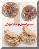 Vintage Wire Floral Pastel Rhinestones Earrings