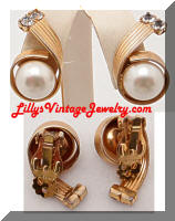 Vintage Rhinestones faux Pearls Golden Ribbon Earrings