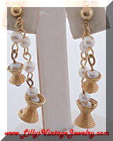Vintage Gold tone faux Pearls Dangle Earrings