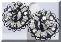 Vintage Faux Pearl Rhinestones Beaded Japanned Earrings
