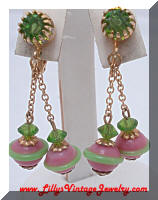 Pretty Pink & Green Crystals and Lampwork Beads Dangle Earrings