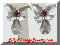 Elegant Purple Rhinestones Silver Orchid Earrings