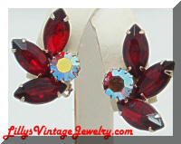 Fiery Red AB Rhinestones Vintage Earrings