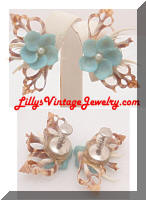 Vintage Sea Shells Floral Earrings