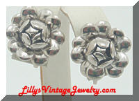 Silver cabage rose flower earrings