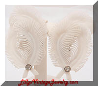 Vintage W GERMANY White Plastic Feather Climber Earrings