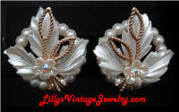 White Plastic AB Rhinestones Flower Vintage Earrings