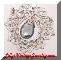 DeLIZZA and Elster Hematite Rhinestones Dangle Brooch