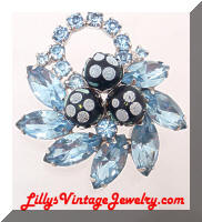 Juliana Blue Rhinestones Dotted DeLIZZA and ELSTER Brooch