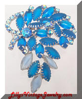 DeLIZZA and ELSTER Bright Blue Rhinestones Brooch