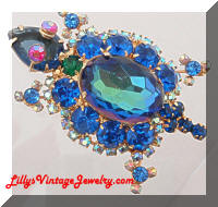 DeLIZZA and Elster Watermelon Blue Rhinestones Turtle Brooch