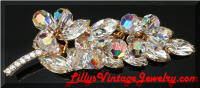 DeLizza & Elster Juliana AB Rhinestones Leaf Crystals Beads brooch
