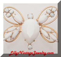 Vintage DeLIZZA and ELSTER White Rhinestones Butterfly Brooch