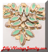Vintage JULIANA D&E Green AB RhinestonesTriangle Brooch