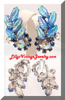 Vintage DeLizza Elster JULIANA AB Blue Rhinestones Leaves Earrings