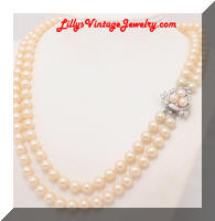 Vintage Cream Glass Pearls 2 Strands Necklace