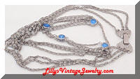 Multi Chains Silver tone Blue Rhinestones Necklace