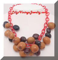 Vintage Celluloid and Nuts Charm Necklace
