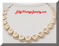 Vintage CORO Textured Golden Twisting Necklace