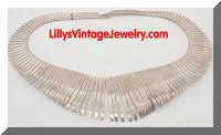 Fluid Silver tone Modernist Fringe Necklace