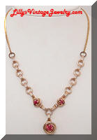 Vintage Pink Rhinestones Golden Love Knots Necklace