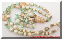 Vintage Tan Peridot Green Beads Crystals Pendant Necklace