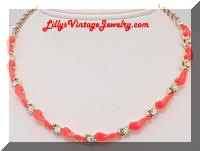 Orange Inserts Rhinestones Vintage Necklace