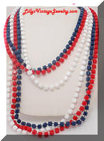 patriotic red white blue square plastic beads necklaces