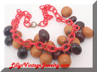 Vintage Red Celluloid and Nuts Charm Necklace
