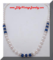 Vintage faux Pearls Blue Beads Rhinestones Roundel Necklace