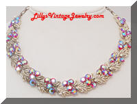 Vintage Star Pink AB Rhinestones Necklace