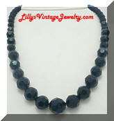 Black Facet Plastic Beads Vintage Necklace