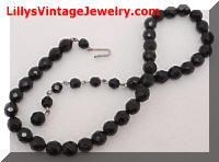 Vintage Black Glass Beads Choker Necklace
