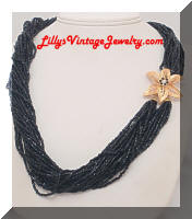Black Seed Glass Beads Multi Strand Torsade Necklace